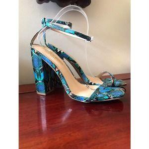 Fashion Nova Blue Multi Colored Heels Size…